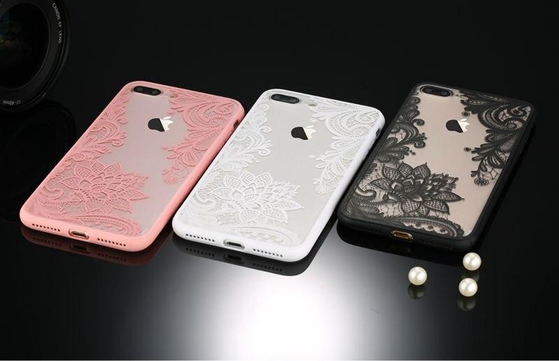 Sexy retro floral phone case dla apple iphone 7 6 6 s 5 5S SE Plus Koronki Kwiat Dysk PC + TPU Przypadki Back Cover Capa Dla iPhone7Plus 9