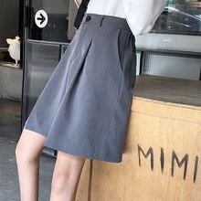 Knee Length Shorts Women Summer Solid Color Elegant Leisure Loose Shorts Trendy Classic Wide Leg Chic Korean Ladies Pockets