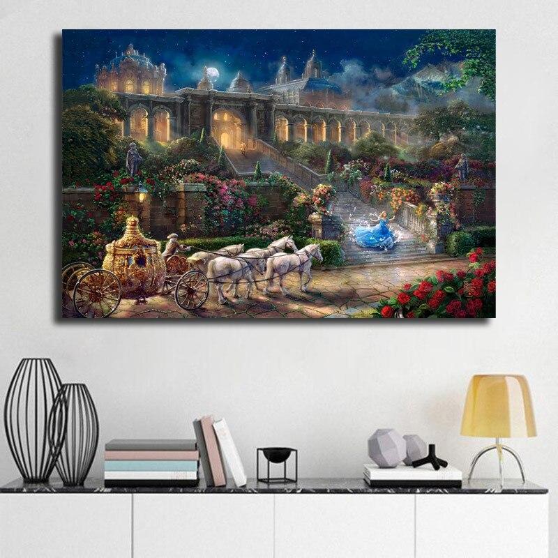 Reloj marque la medianoche Cenicienta pintura de la lona impresión habitación decoración para el hogar moderno arte de la pared pintura al óleo Poster Dropshipping. Exclusivo.
