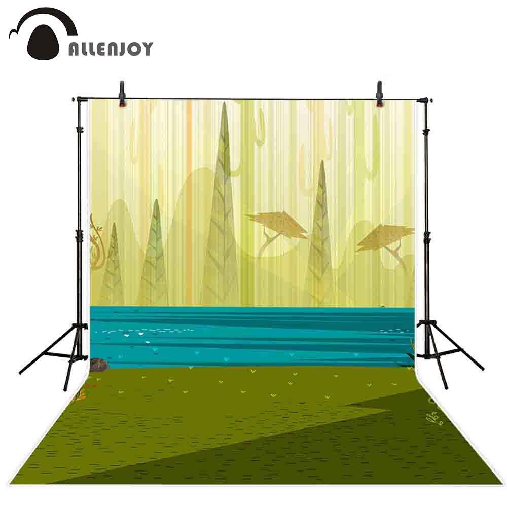 Allenjoy photographie toile de fond AI format vert forrest bleu lac Silhouette toile de fond photocall photobooth studio shoot tissu