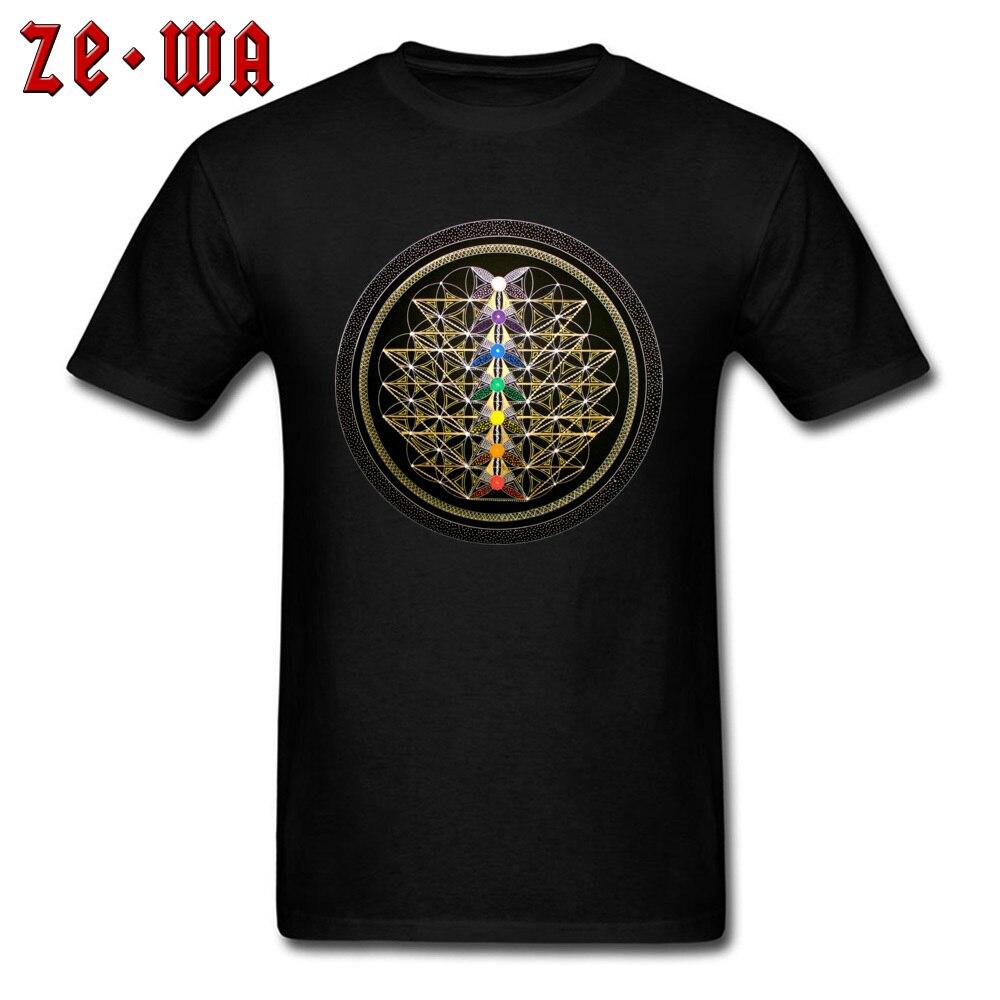 2018 mandala t-shirts dos homens do punk tshirt impressão geométrica t camisas verão preto topos de tecido algodão streetwear chakra navio da vida
