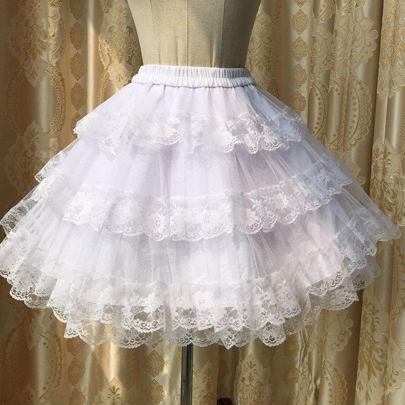 PYJTRL LOLITA Series Collocation Organza Lace Layers Pure Cotton Lining Petticoat Skirt Length 45cm