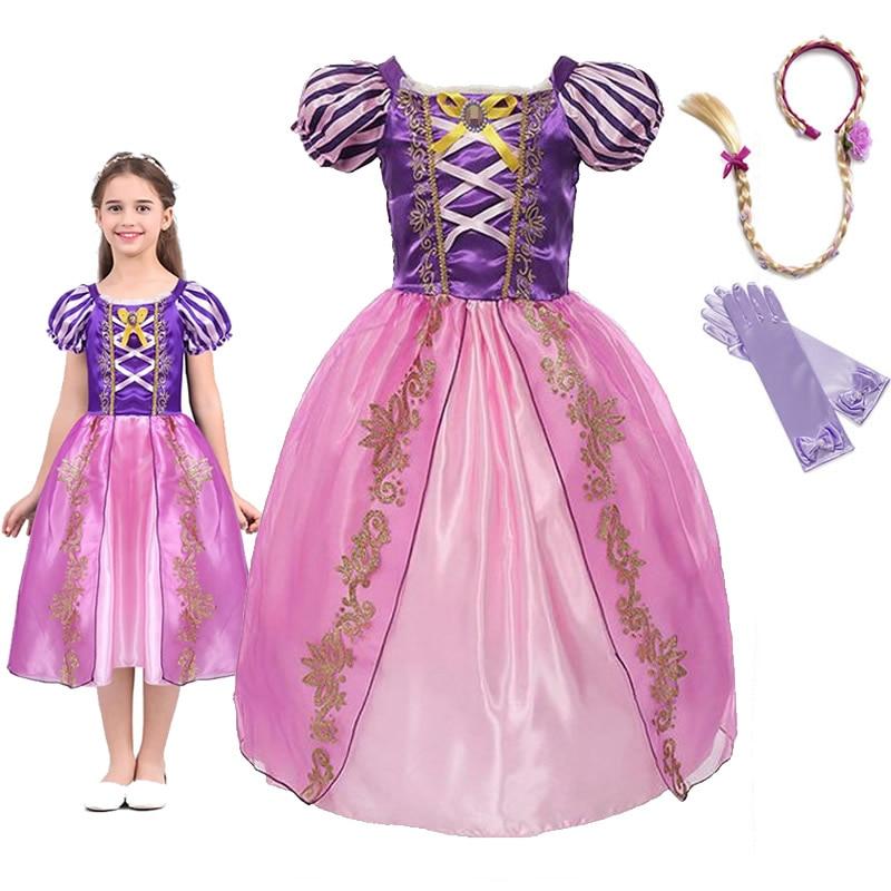 Niñas princesa Rapunzel vestir vestidos bebé verano fiesta de disfraces personificaciones niño pequeño enredado vestidos de juego de rol para niña