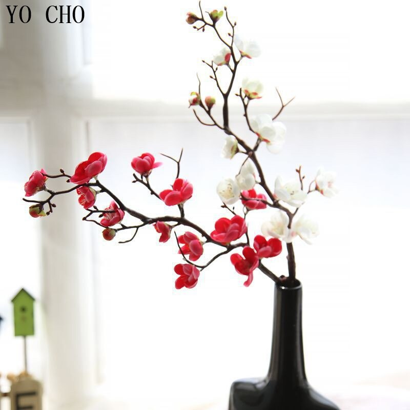 YO CHO toque Real Hortensia Artificial Cerezo japonés flores falso flores decorativas para la boda de Diy Sakura orquídea árbol