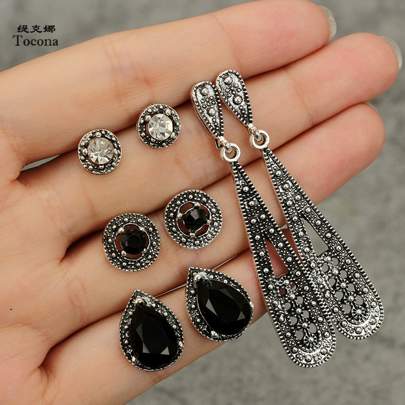 Tocona 4 Pair/set Vintage Water Drop Black Rhinestone Stud Earrings Sets for Women Silver Color Earring Brincos Jewelry 4992