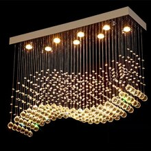 K9 Kristall Kronleuchter LED Chrome Fertig Licht Wave Art Decor Moderne Suspension Beleuchtung Hotel Villa Hängen Lampe