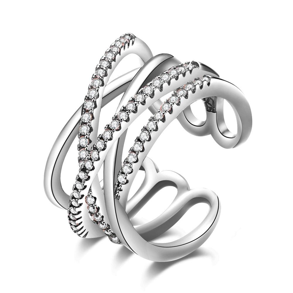 925 sterling-silver-jóias coroa anéis feminino duplo cruz cz cristal infinito anel bague argent 925 femme anillos mujer anel