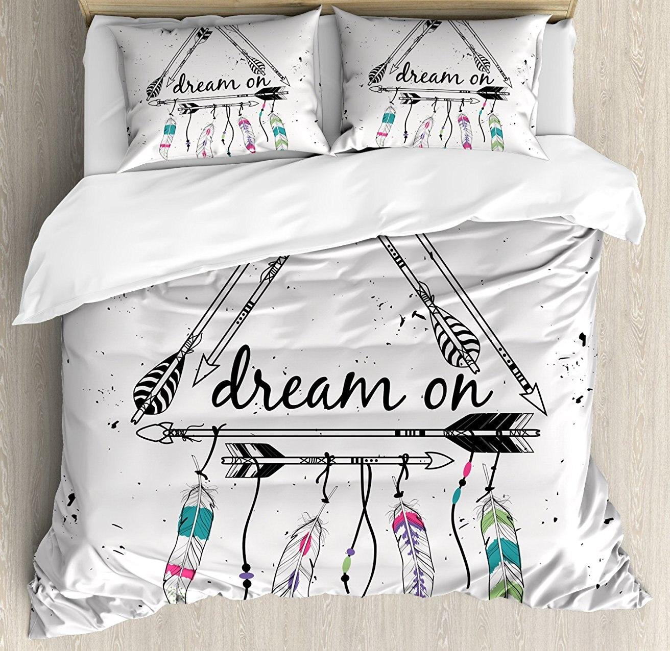 Инди набор пододеяльников в стиле бохо этнический стрелы треугольные формы сон на ручном написании перьев 4 шт комплект постельного белья