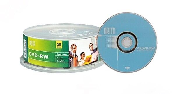 Arita regravável DVD-RW 4.7 gb 4x25 peças/lote frete grátis