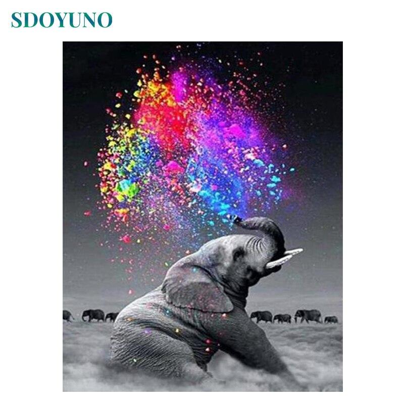 SDOYUNO Elefanten 5d diamant malerei voll bohrer platz Tiere Moderne Wand Kunst Wohnkultur DIY Geschenk Raum Dekoration