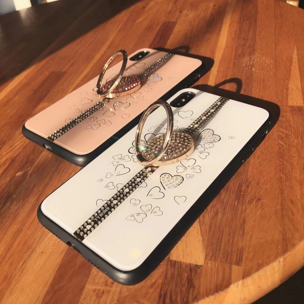 Lujoso diamante soporte para iphone 6 6s 7 8 Plus X XR XS MAX funda 6 plus 7 7 8 plus sueño funda brillante con anillo de dedo