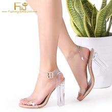 Sandalias gruesas de Punta abierta transparente de 12cm 5 pulgadas de tacones cuadrados de Perspex zapatos de mujer de talla grande 15 2019 de personalización