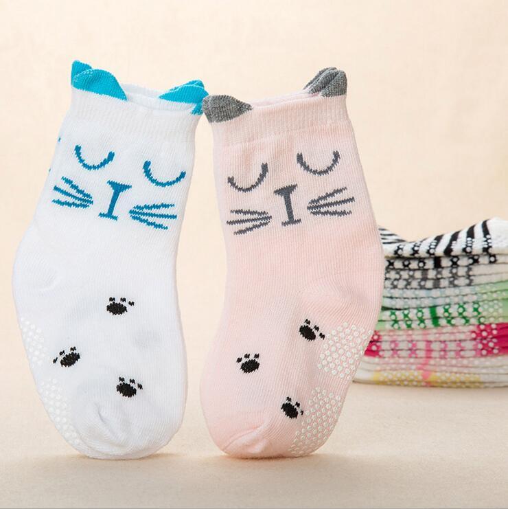 2 pares de algodón recién nacido de primavera otoño bebé niña niño NIÑOS Calcetines de bebé niños niño gato material barato ropa de goma antideslizante