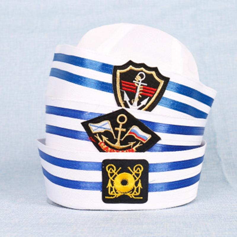 Vintage Erwachsene Kinder Weiß Kapitän Sailor Hut Navy Marine Kappe Anker Boot Armee Caps Kinder Hüte Partei Cosplay Kostüm Outfit