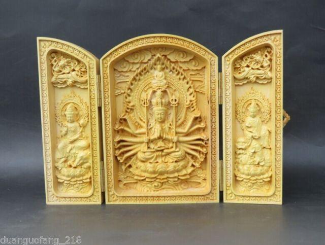 Elaborado colección boj chino trabajo manual de tallado mil manos kwan-yin caja amuleto