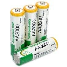 4 adet/grup BTY şarj edilebilir 1.2V 3000mAh Ni-MH AA pil NiMH AA pil için el feneri, oyuncaklar ve elektronik cihazlar