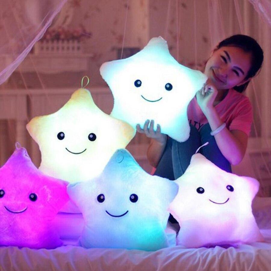 Светящаяся подушка, подушка со звездочкой, цветная светящаяся плюшевая кукла-подушка, светодиодная светящаяся игрушка, подарок для девочки, детский Рождественский плюшевый светильник, игрушки, хит продаж