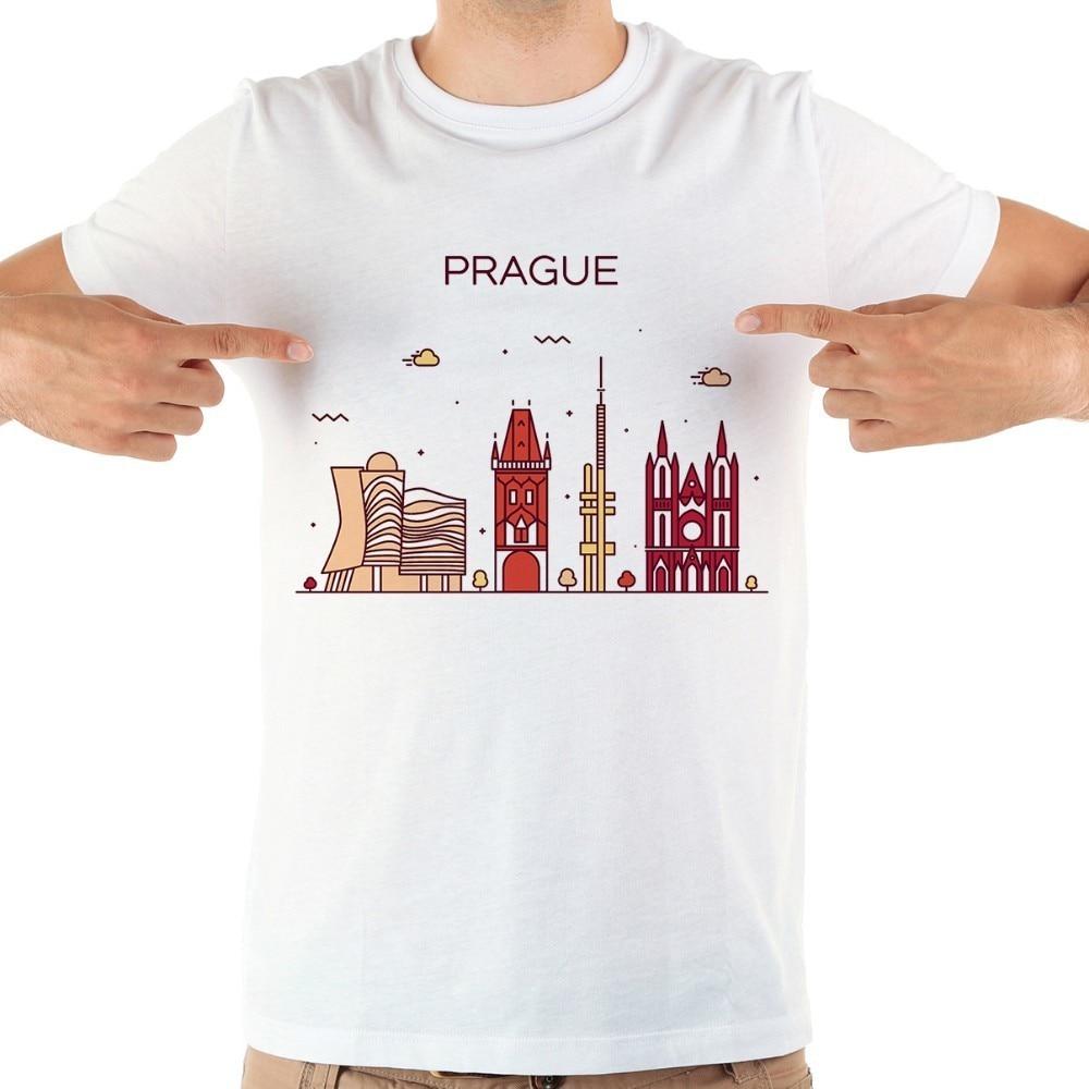 Checa Praga hito golpes breves camiseta divertida hombres blanco nuevo manga corta casual homme cool camiseta