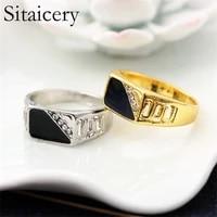 sitaicery gold silver plated black enamel rings men vintage ring punk classic black drip imitation black stones male enamel ring