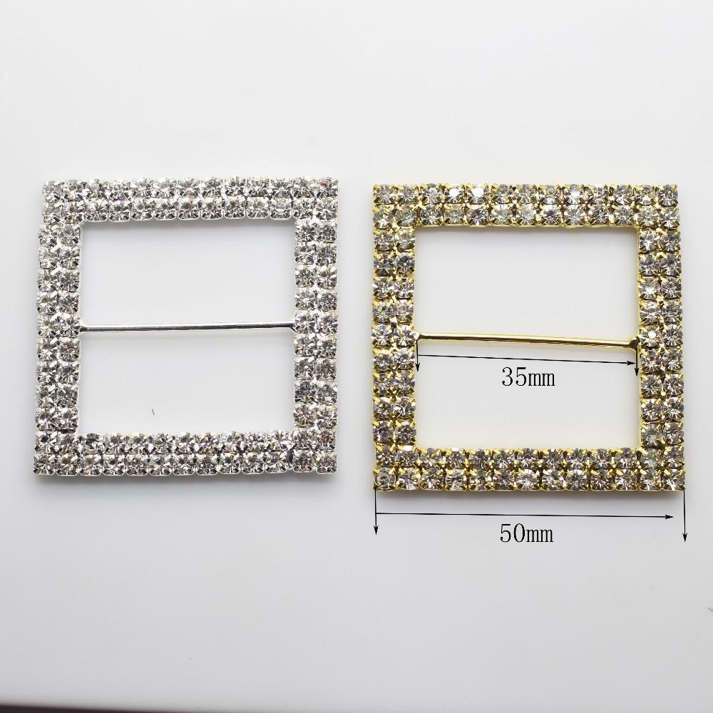 Квадратные пряжки серебристого или золотого цвета, 4 шт./лот, 50 мм, металлические принадлежности для свадебного украшения, ручная лента для аксессуаров, подходящая обувь с пряжкой