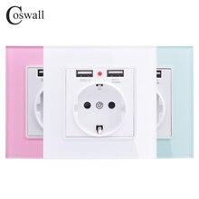 Coswall Groen Roze Kleurrijke Crystal Glass Panel Dual Usb-poort Opladen 2.1A 16A Rusland Spanje Stopcontact Eu Stopcontact