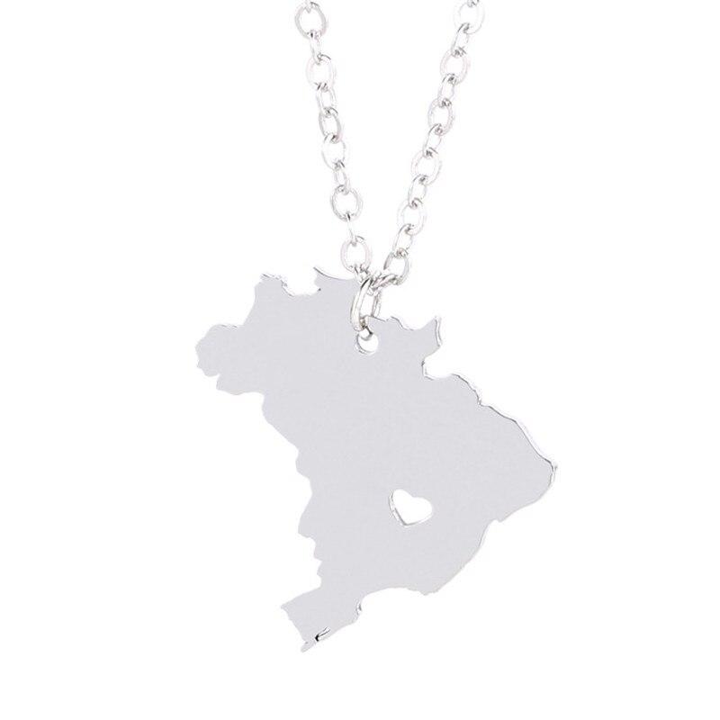 Mapa de Brasil collar de acero inoxidable Mapa de Brasil corazón colgante collar mujeres moda mapa Memorial joyería regalo 12 unids/lote