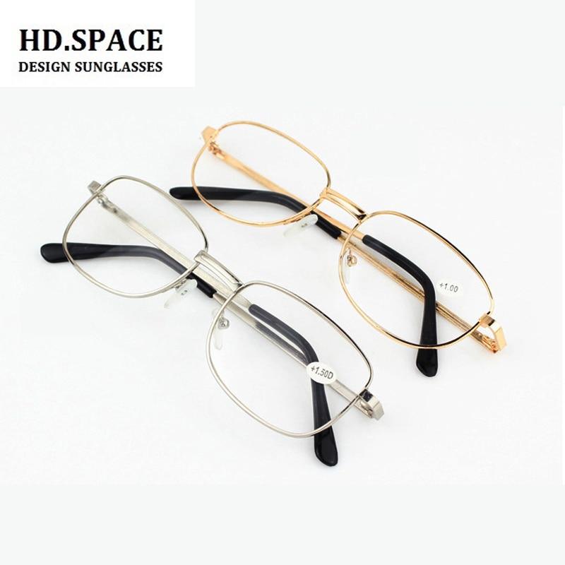 HD. חלל מלא מתכת מסגרת זכוכית עדשות נקבה זכר משקפי קריאת נשים גברים יוניסקס Eyewear + 1.0 + 1.5 + 2.0 + 2.5 + 3.0 + 3.5 + 4.0