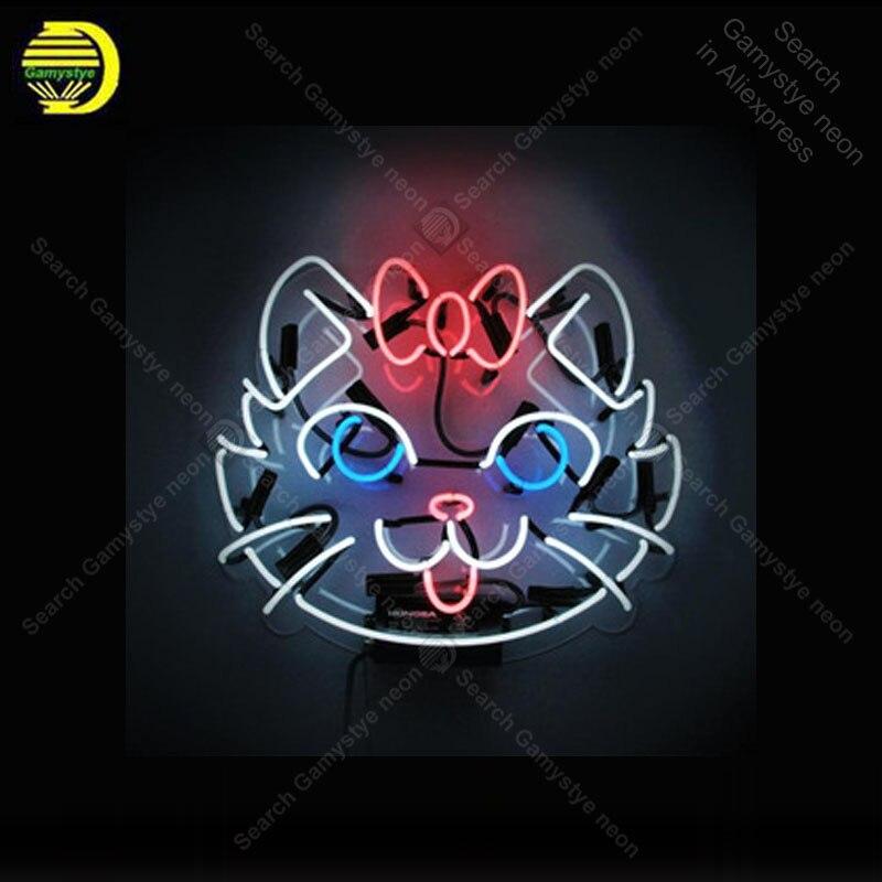 Letrero de neón para gatos de China, tubo de cristal hecho a mano, señal de luz de neón, recreación para el hogar, pared del dormitorio, señal icónica, luz de neón, decoración, grandes lámparas