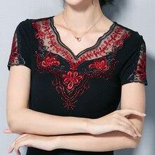 Frauen bluse hemd mode kurzarm sommer tops Elegante Bestickt Plus größe hemd 4XL frauen tops und blousas