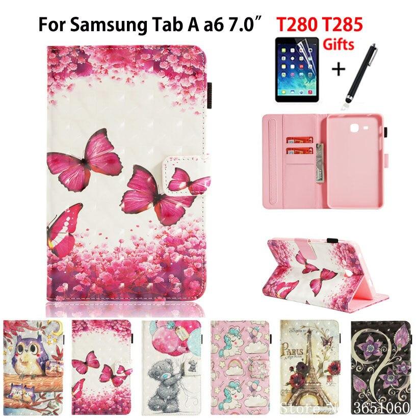 "SM-T280 чехол для Samsung Galaxy Tab A a6 7,0 2016 T280 T285 SM-T285 7,0 ""чехол Funda Tablet 3D с подставкой + стилус + пленка"