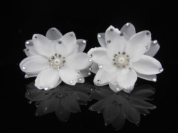 6PCS Satin White Flower Crystal New Hair Pins Hair Accessory Wedding Bridal Party A11