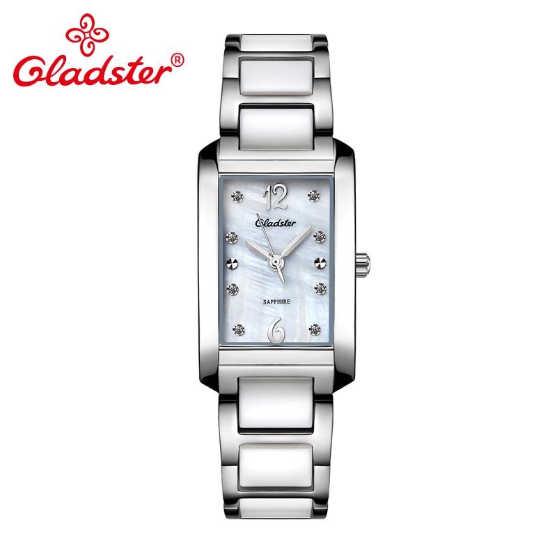 Gladster-ساعة نسائية من السيراميك ، سوار ياباني ، ياقوت ، كريستال ، بعقارب ، MIYOTA GL30