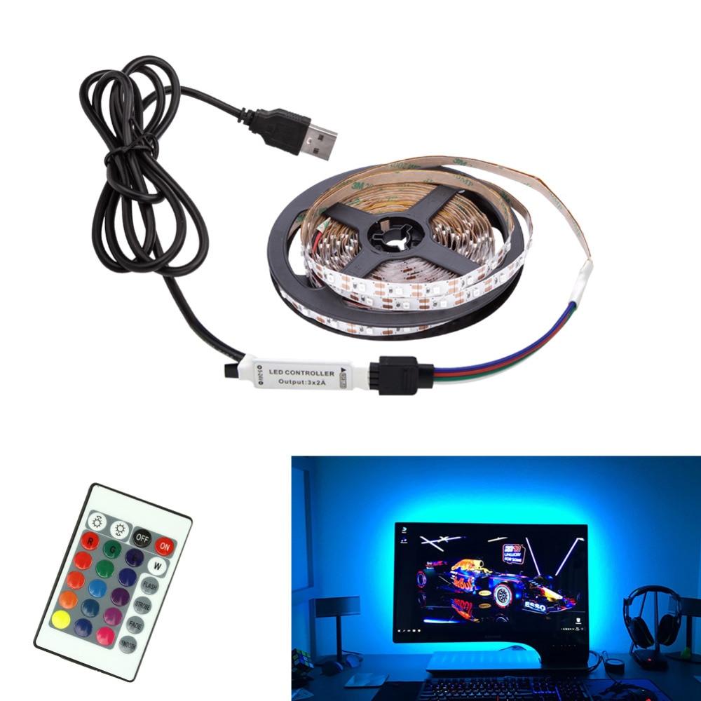 LED Strip DC5V USB Cable Power Flexible Light Lamp 50CM 1M 2M 3M 4M 5M SMD 2835 Mini 3Key Desk Decor TV Background Lighting