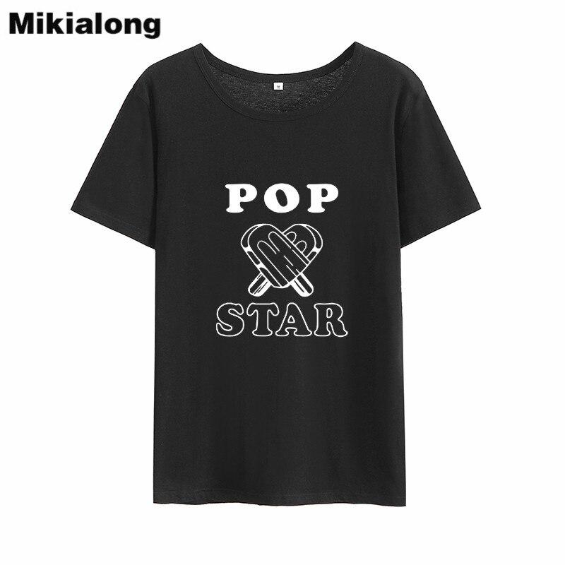 Mikialong Pop Star Harajuku Streetwear Camiseta mujer verano 2018 impreso mujeres Básicas...