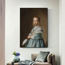 Портрет девушки, одетой в синий холст, художественная Настенная роспись от Johannes Dutch Golden Age, художественные принты для гостиной