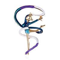 Rinhoo Sports Gymnastics Whirling Girls Ribbon Brooch Clothes Accessories Gold-color Enamel Brooches Lady Women Jewelry Pins