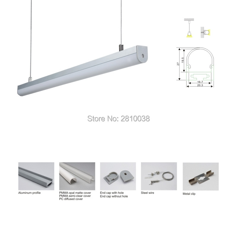 100 X 2M Sets/Lot Bow shape led aluminum profile and dome cover U type aluminium led channels for hanging lamps