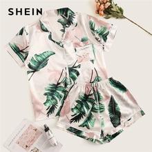 SHEIN imprimé Tropical Satin pyjama ensemble décontracté vêtements de nuit Shorts ensembles à manches courtes poche femmes dété pyjama ensemble