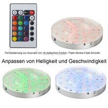 30 Pc/lot base de lumière LED Rechargeable à piles de 8 pouces avec télécommande pour la décoration de fête de mariage