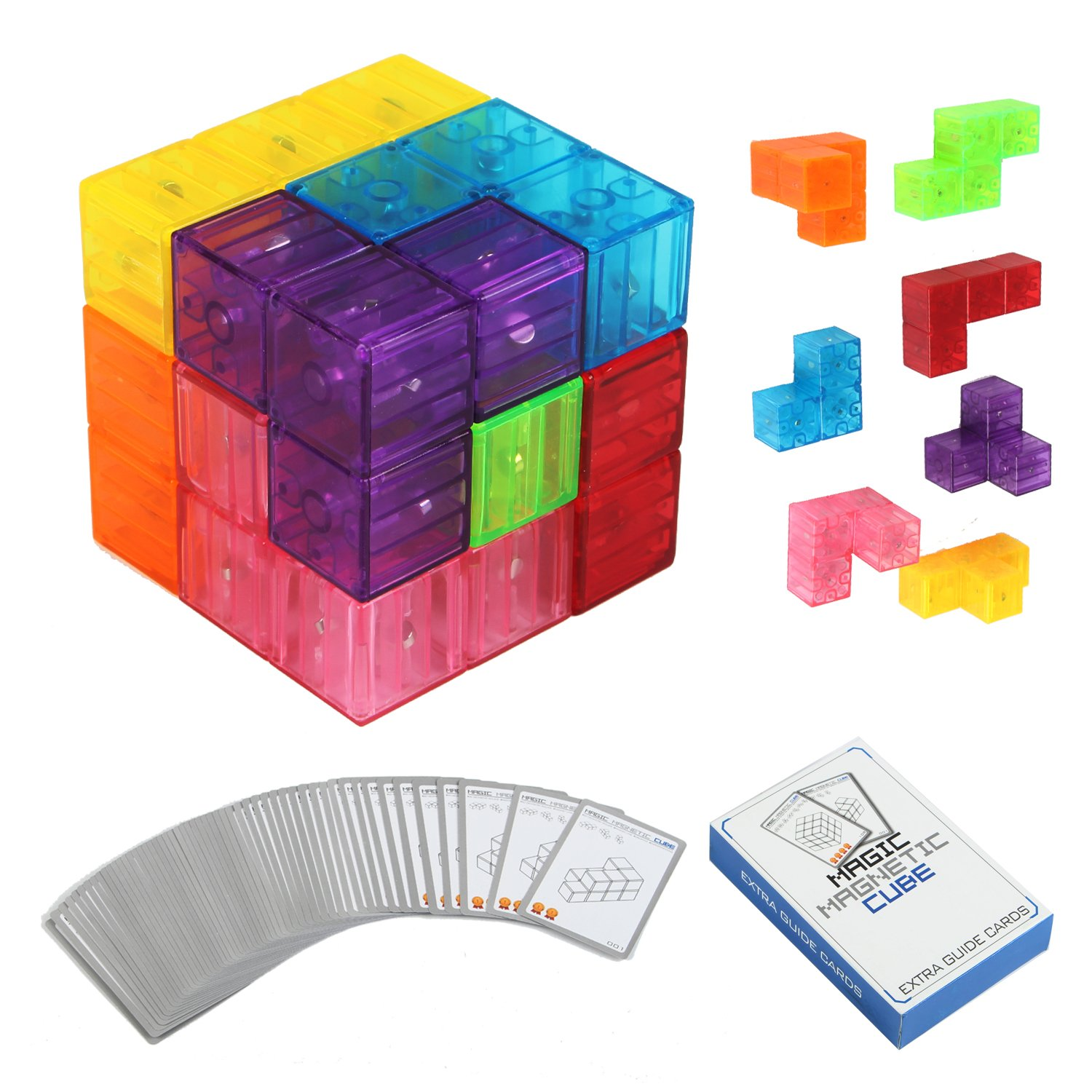 Zhenwei Magnetic Puzzles 7pcs Magnetic Bricks 54 Smart Cards Brain Toy Brainteaser Puzzles for Develop Kids Intelligence 12 in 1 intelligence brain training metal puzzles set silver