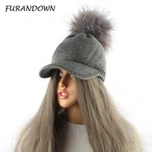Chapeau à Pompon en fourrure pour femmes   Nouvelle casquette de Baseball tricotée en coton pour printemps avec Pompon de marque, casquettes de visière pour dames