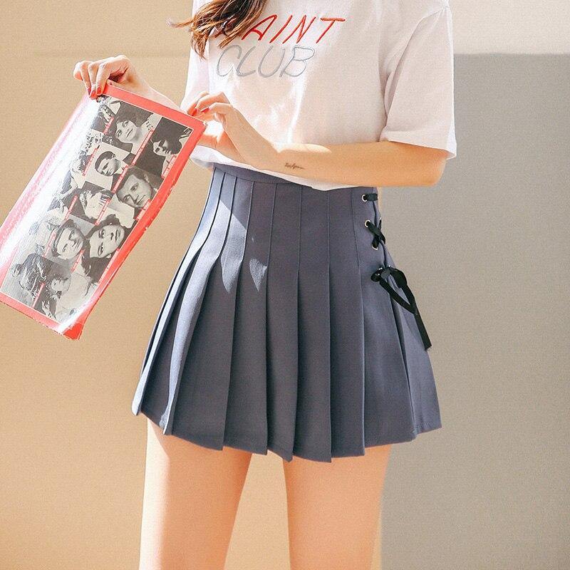 Harajuku Kawaii High Waist Bandage Pleated Skirt Short Skirt Women Summer 2018 Japanese Casual Blue A-line Skirt Schoolgirl M225