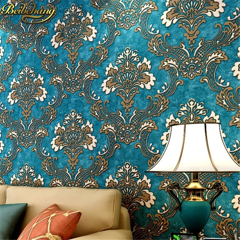 beibehang papel parede Luxury Fashion Damascus 3D Wallpaper Non-woven Stereo Wallpapers Mural Wall Decals Papel de Parede