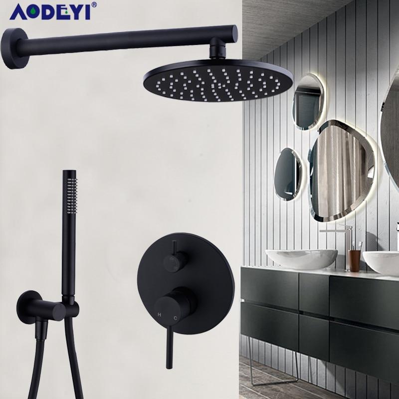 "Brass Black Bath Shower Faucets 8-12"" Rain Shower Head Bathroom Shower Set Diverter Mixer Valve  Shower System Wall Mounted"