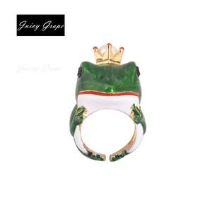Juicy Grape New Style Gilded Frog Opening Ring Elegant Noble Animal Jewelry Enamel Glaze Ring Adjustable Ring For Women