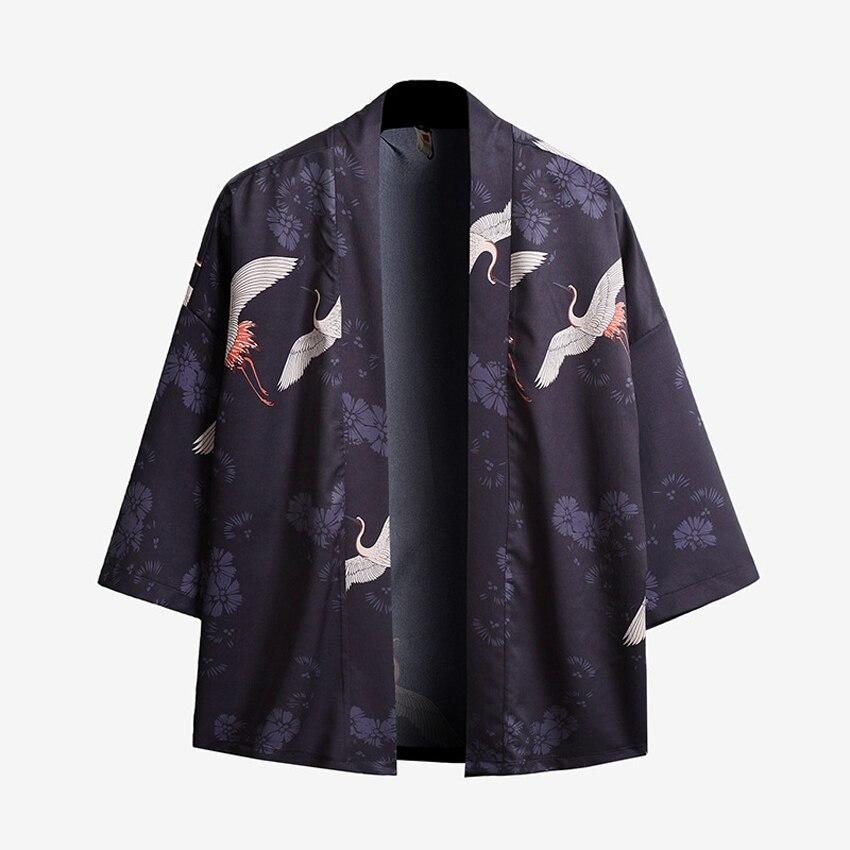 Chaqueta samurái japonesa de verano para hombre, chaqueta Harajuku con dibujo de Calavera, cárdigan de UKIYO-E, Haori Oriental, ropa de calle holgada para hombre