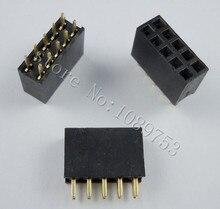 Connecteur de prise PCB 10P 100 pièces   2x5 broche 2.54mm Double rangée broche femelle connecteur de prise PCB