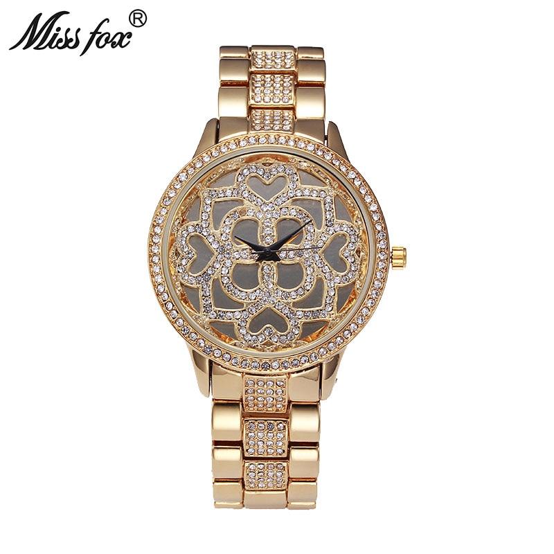 Reloj de oro rosa de la flor de la señora de la famosa marca Xfcs corazón diamante reloj encantos chicas adolescentes relojes de cuarzo Relogio femenino