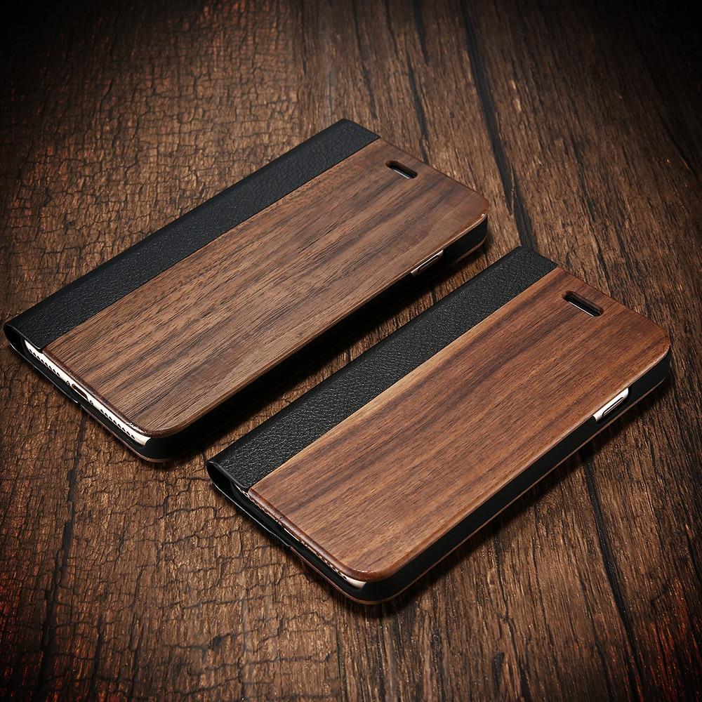 KISSCASE bambú Flip caja del teléfono para iPhone 11 8 7 6 6s madera Protector funda para iPhone 8 7 6 6 Plus X XR XS tarjeta Max cartera cubre