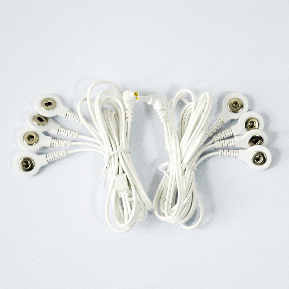 2 piezas de reemplazo Jack 2,35mm electrodo cables de plomo 4-Snap 3,5mm para TENS/EMS unidad